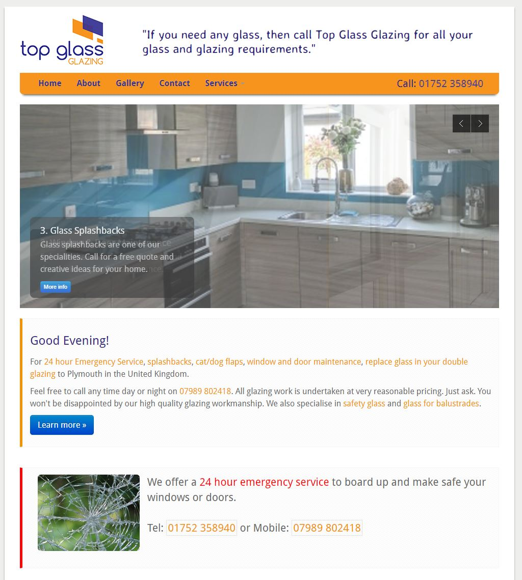 Top Glass Glazing - A website by Anything I.T.