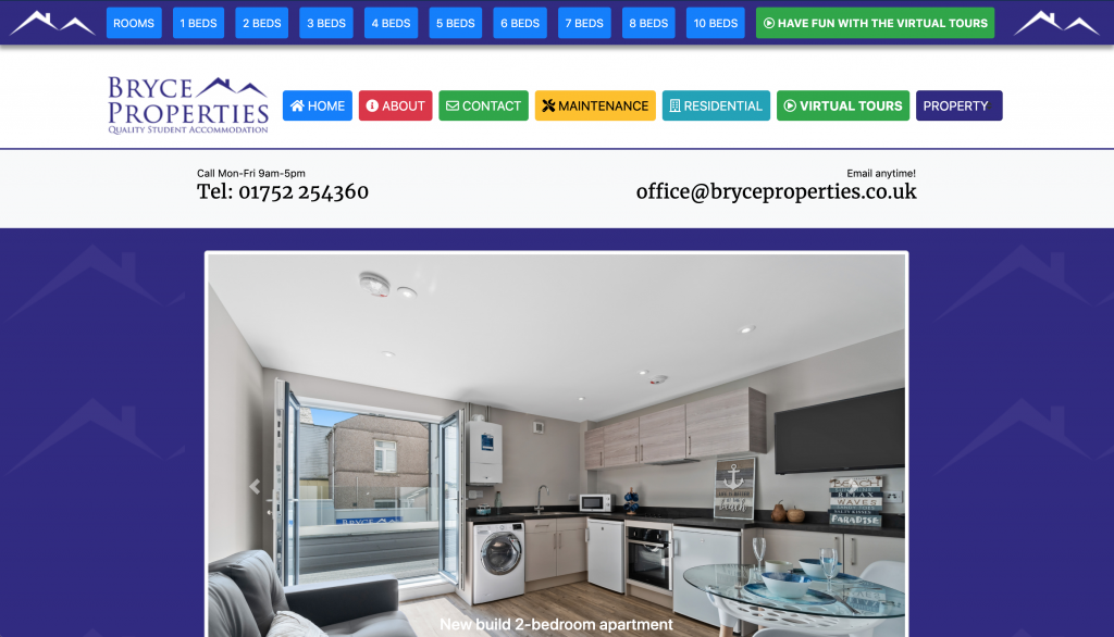 Bryce Properties 2019-2020 website