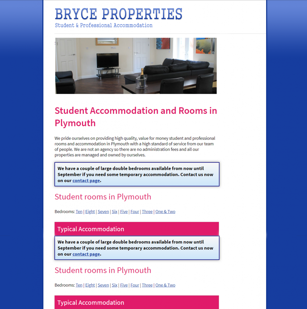 The 2013 iteration of the  Bryce Properties website