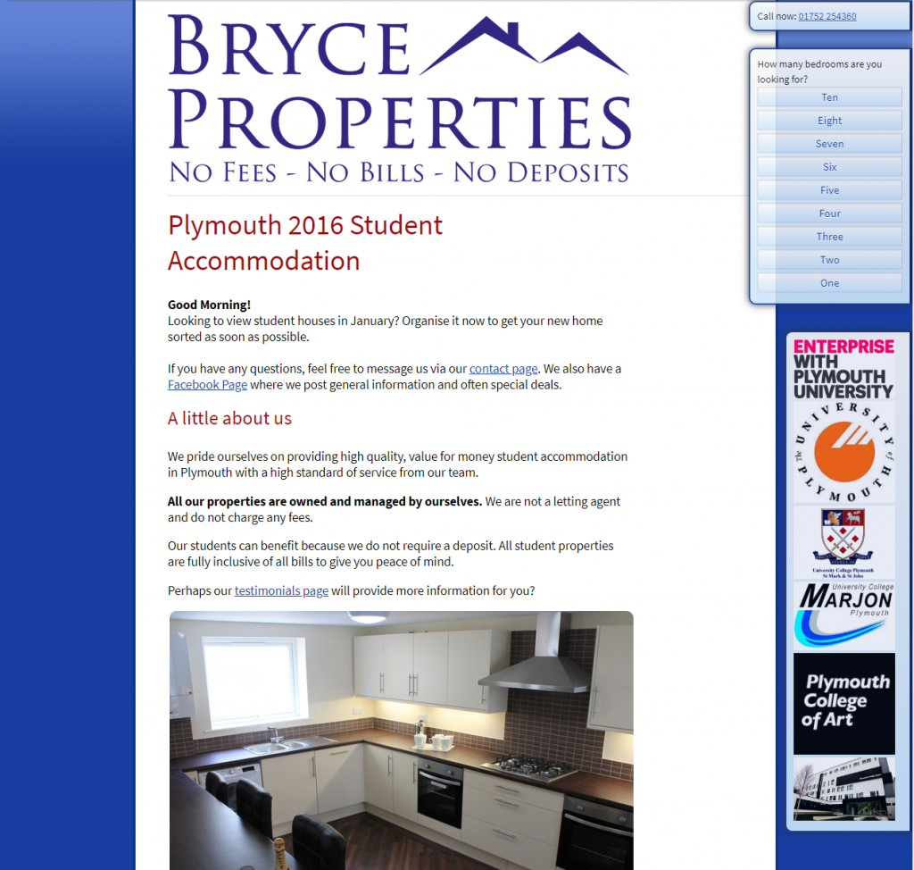 The 2016 iteration of the  Bryce Properties website