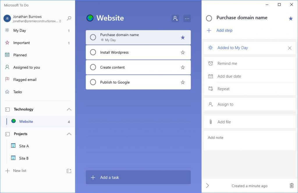 Microsoft To Do task list with options